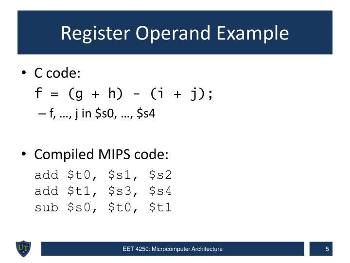 Register Operand Example