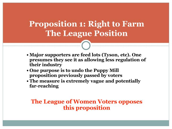 Proposition 1 right to farm the league position