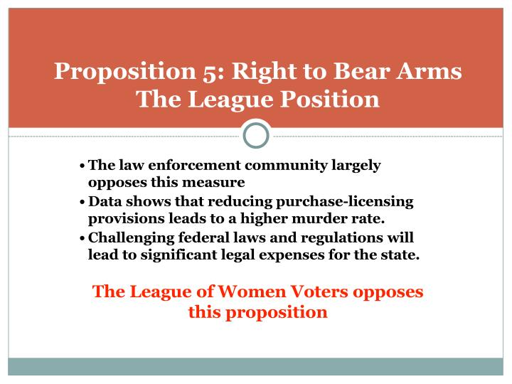 Proposition 5: Right to Bear Arms