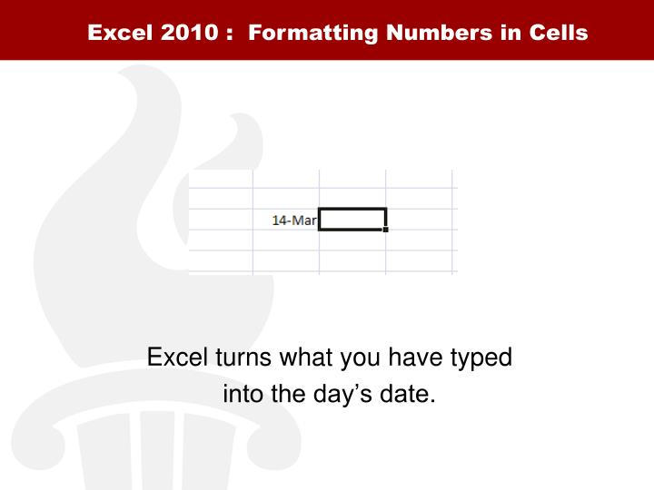 Excel 2010 :  Formatting Numbers in Cells