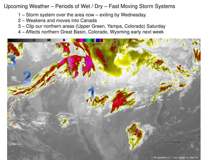Upcoming Weather – Periods of Wet / Dry – Fast Moving
