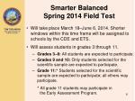 smarter balanced spring 2014 field test