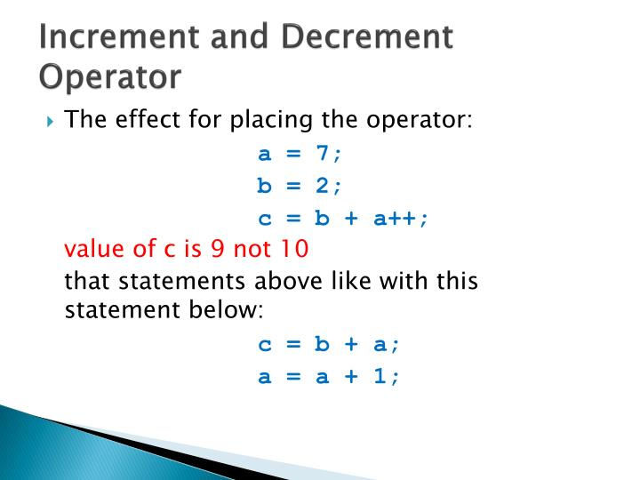 Increment and Decrement Operator