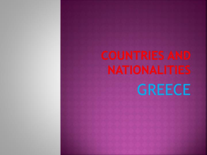 countries and nationalities n.