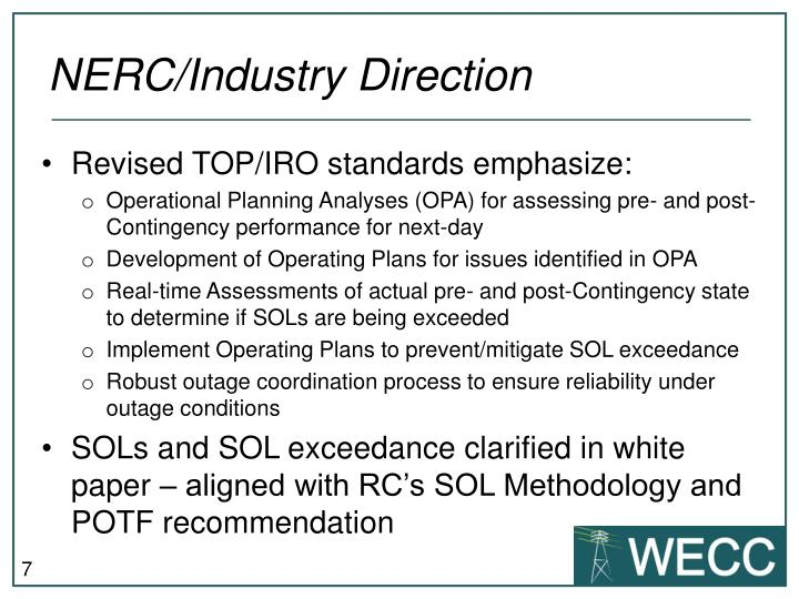 NERC/Industry Direction