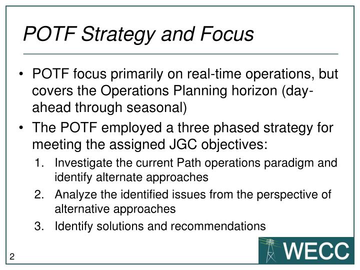 Potf strategy and focus