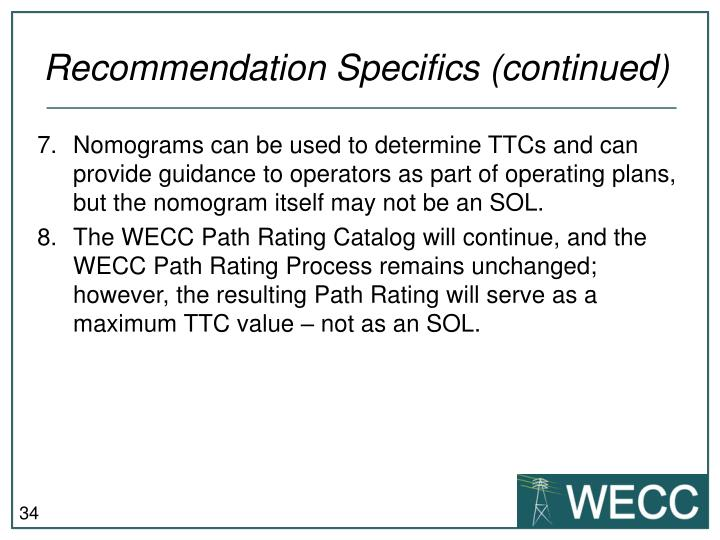 Recommendation Specifics (continued)