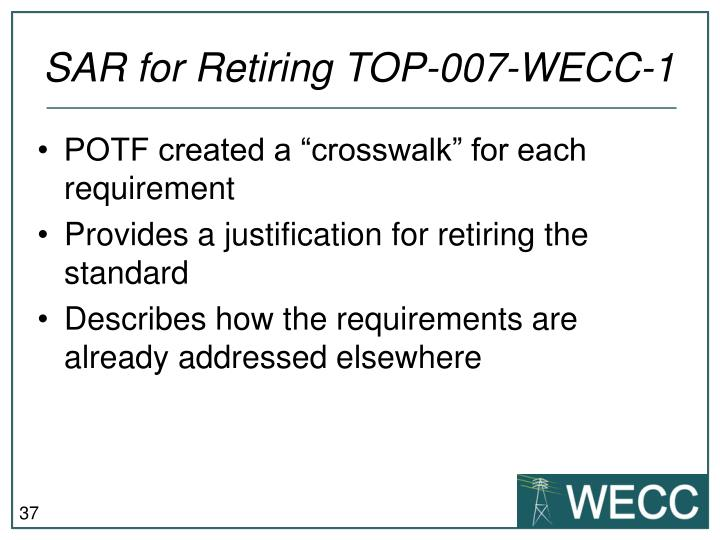 SAR for Retiring TOP-007-WECC-1