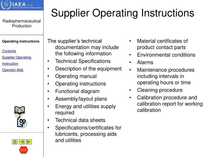 Supplier operating instructions