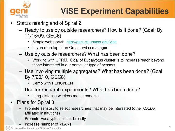 Vise experiment capabilities