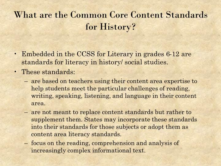 What are the common core content standards for history
