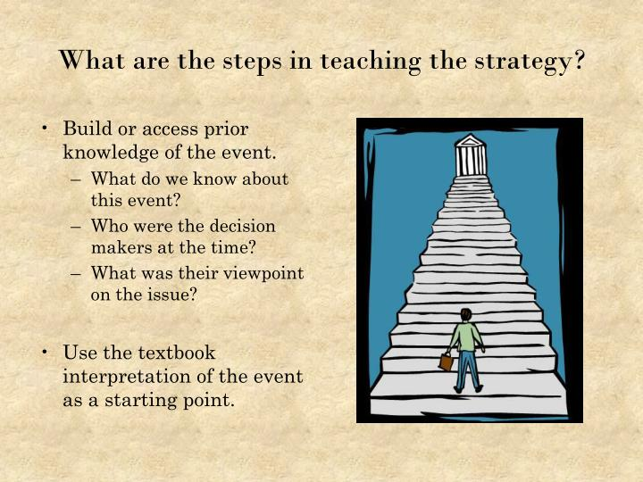 What are the steps in teaching the strategy?