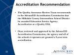 accreditation recommendation