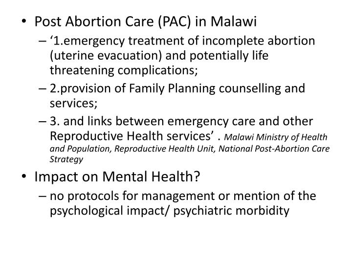 Post Abortion Care (PAC) in Malawi
