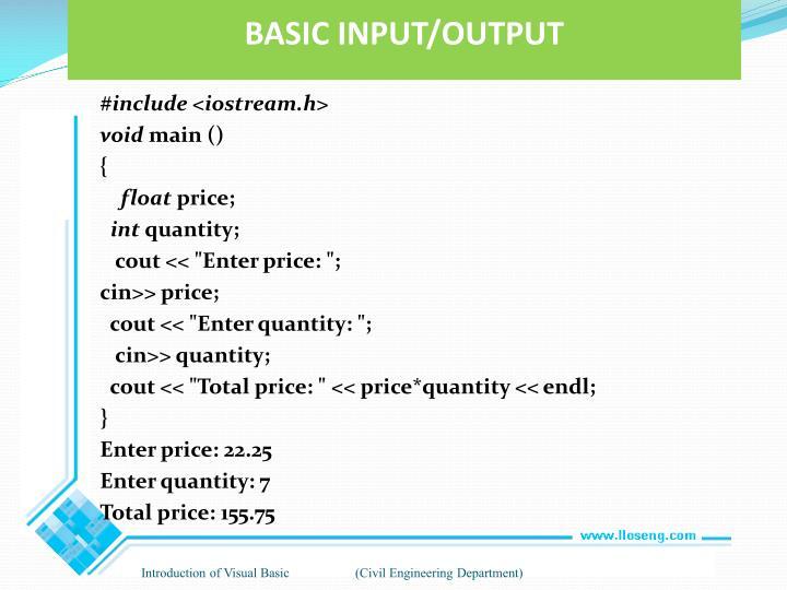 BASIC INPUT/OUTPUT