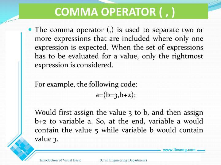 COMMA OPERATOR ( , )