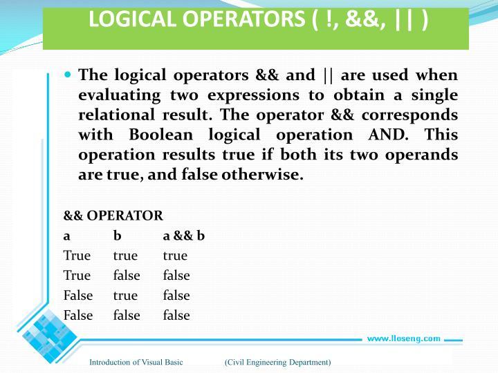 LOGICAL OPERATORS ( !, &&, || )