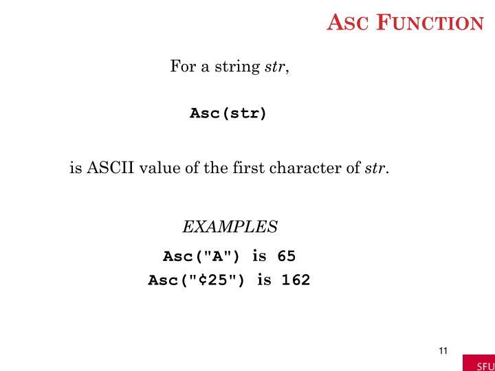 Asc Function