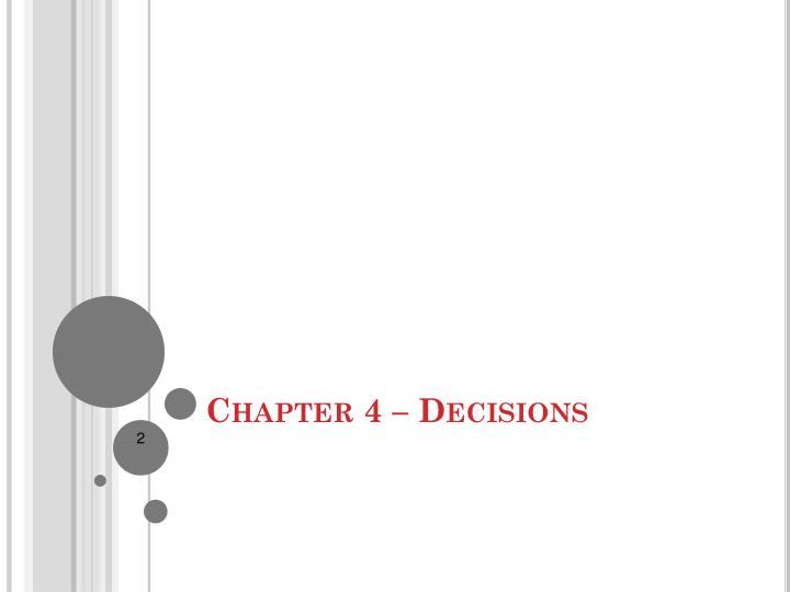 Chapter 4 decisions