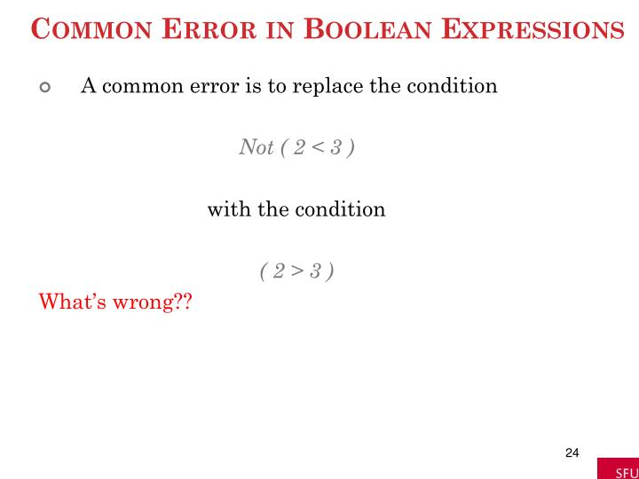Common Error in Boolean Expressions