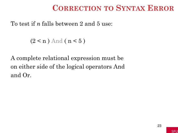 Correction to Syntax Error