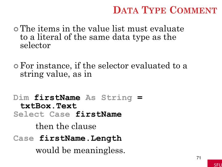 Data Type Comment