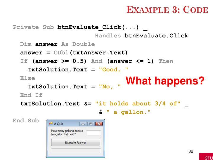 Example 3: Code