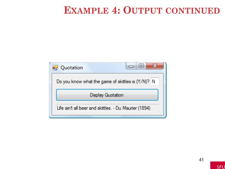 Example 4: Output continued