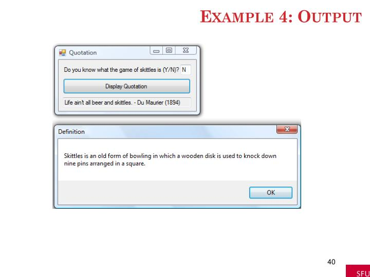 Example 4: Output