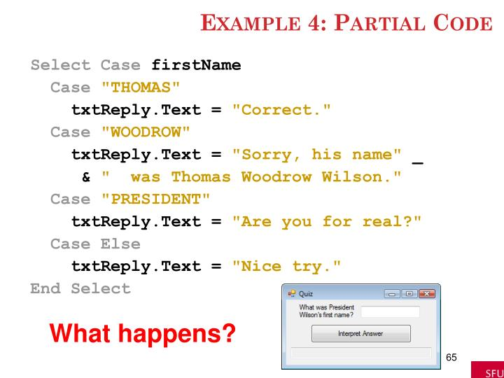 Example 4: Partial Code