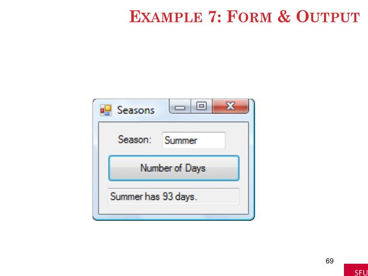 Example 7: Form & Output