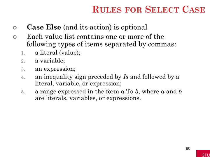 Rules for Select Case