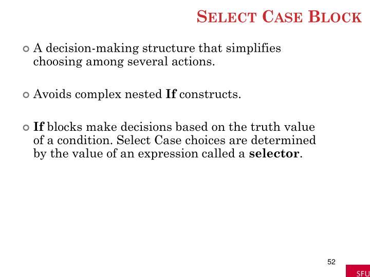 Select Case Block