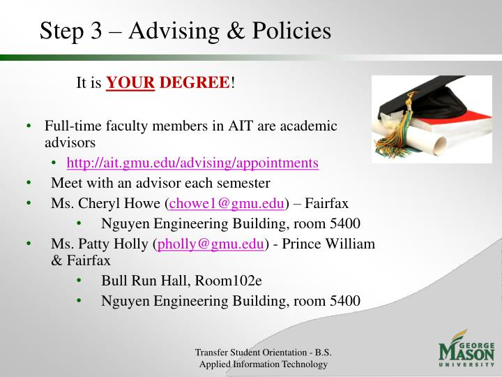Step 3 – Advising & Policies