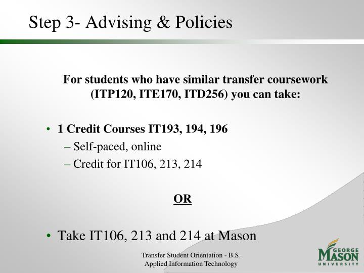 Step 3- Advising & Policies