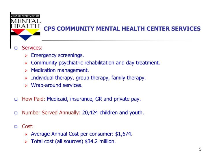 CPS COMMUNITY MENTAL HEALTH CENTER SERVICES