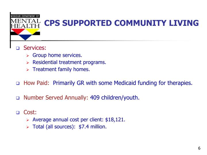 CPS SUPPORTED COMMUNITY LIVING