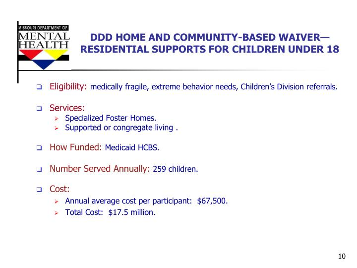 DDD HOME AND COMMUNITY-BASED WAIVER—