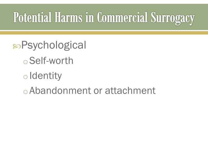 Potential Harms in Commercial Surrogacy