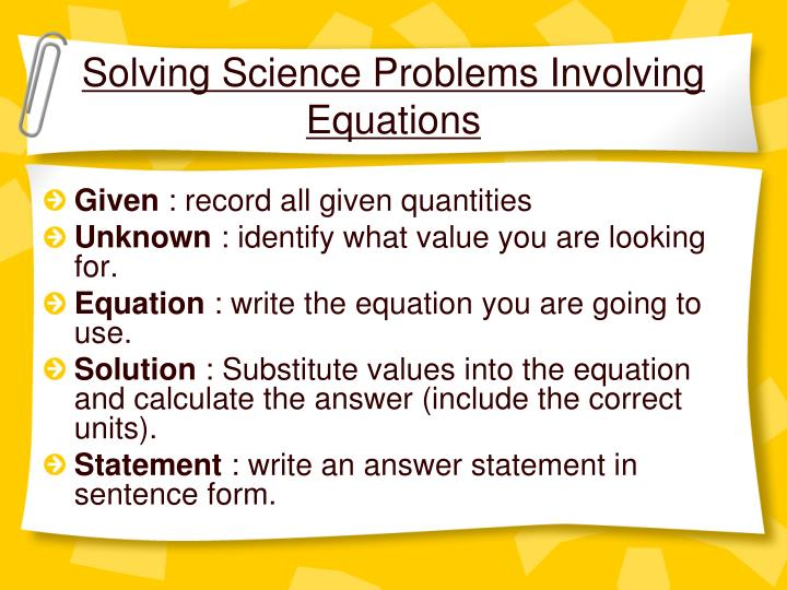 Solving Science Problems Involving Equations