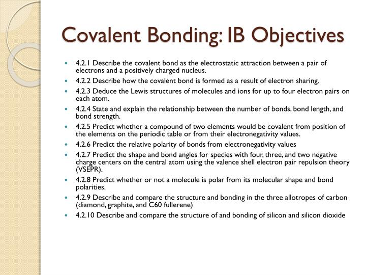 Covalent Bonding: IB Objectives