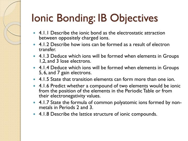 Ionic bonding ib objectives