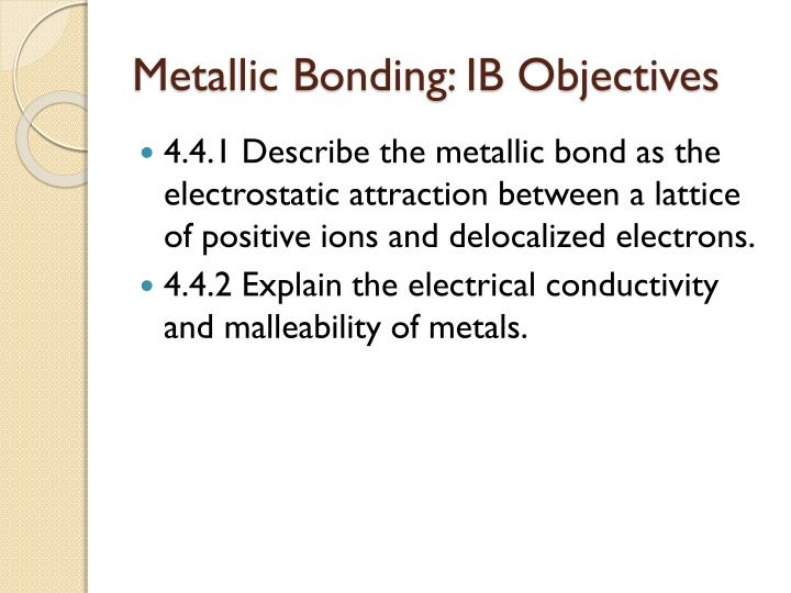 Metallic Bonding: IB Objectives