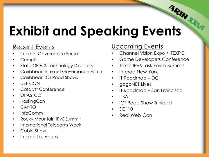 Exhibit and Speaking Events
