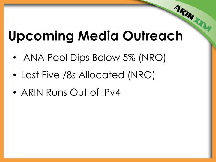 Upcoming Media Outreach