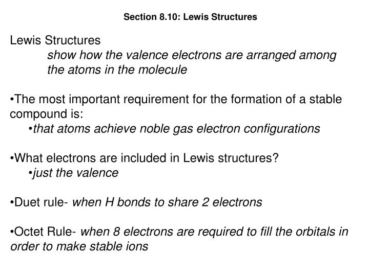 Section 8.10: Lewis Structures