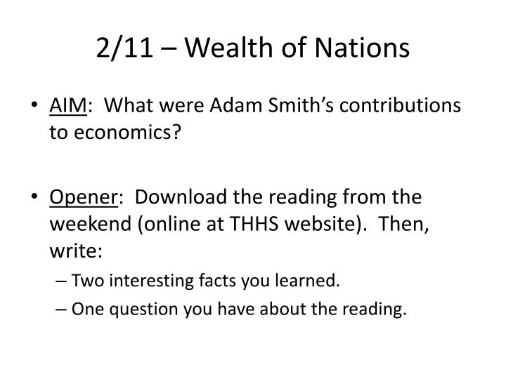 2/11 – Wealth of Nations