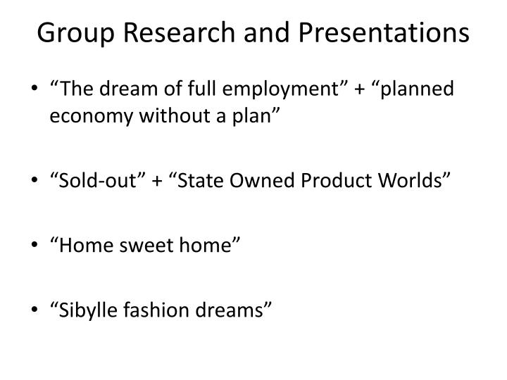 Group Research and Presentations