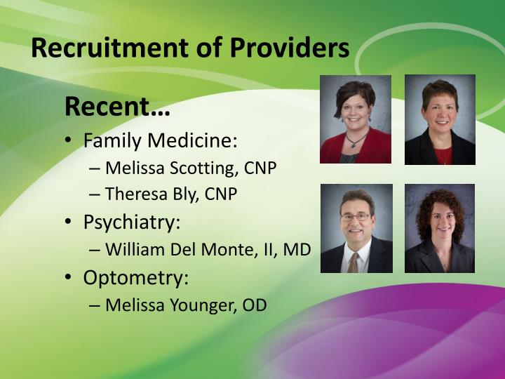 Recruitment of Providers