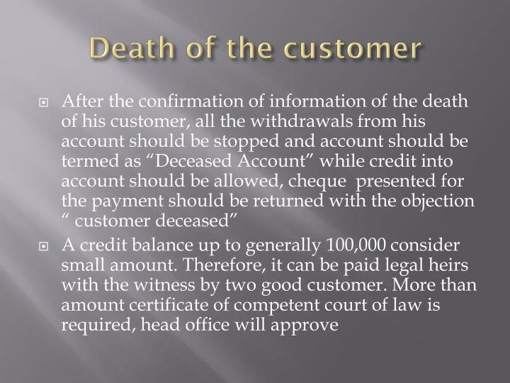Death of the customer